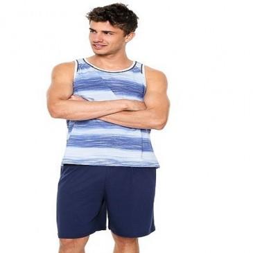 Pijama Listrado Regata Com Bermuda 100% Algodão Pzama–106.6114