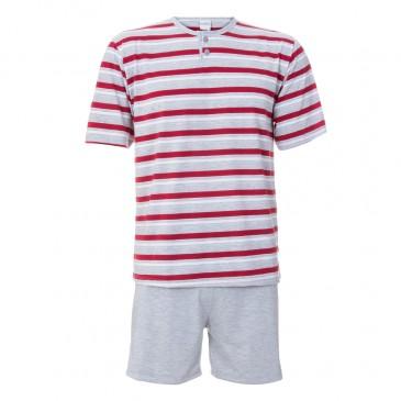 Pijama Masculino Curto Listrado Gislal Vermelho -442