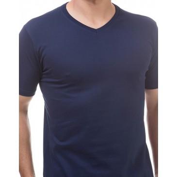 e3eb7d77d Camiseta Gola V Manga Curta Básica Masculina Malwee- 422