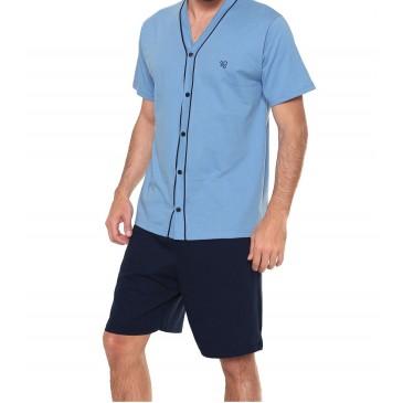 Pijama Masculino Curto Aberto Em Algodão Pzama- 6014