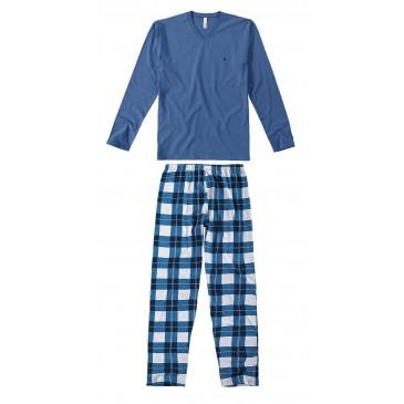 d6fb6e21d Pijama Masculino Longo Malwee Liberta- Azul Xadrez
