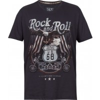 Camiseta Manga Curta Masculina Rock And Roll kohmar-Azul Chumbo